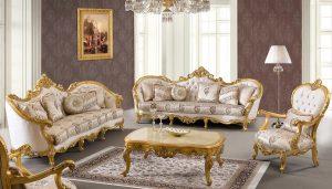 Set Kursi Sofa Tamu Mewah Ukir Emas Terbaru