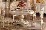Set Meja Kursi Makan Mewah Putih Ukiran Modern