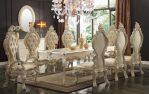 Set Meja Kursi Makan Mewah Putih Ukiran Terbaru