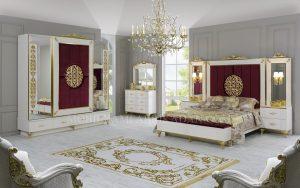 Set Tempat Tidur Pengantin Duco Ukiran Emas