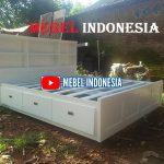 Tempat Tidur Kayu Jati Minimalis Modern Duco Putih