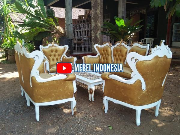 Set Kursi Sofa Tamu Romawi Kayu Jati Mewah